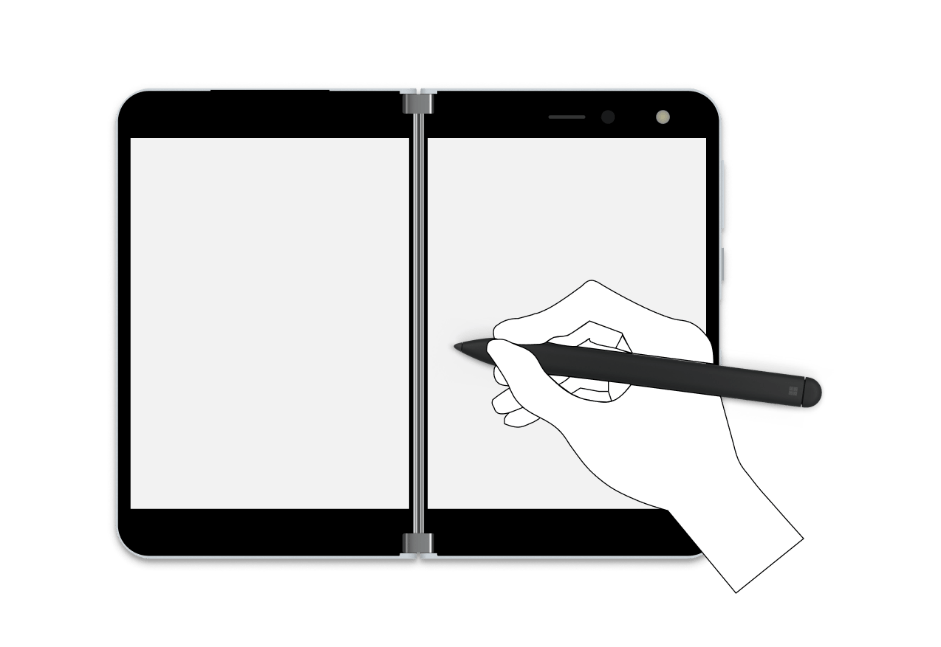 Illustration of a pen being used with a Surface Duo