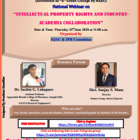 """National Webinar on """"INTELLECTUAL PROPERTY RIGHTS AND INDUSTRYACADEMIA COLLABORATION""""…"""