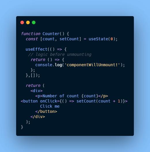 componentWillUnmount using useeffect