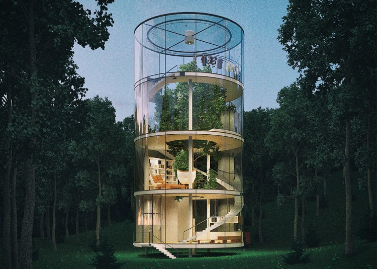 A Space Age Style Glass Tree House