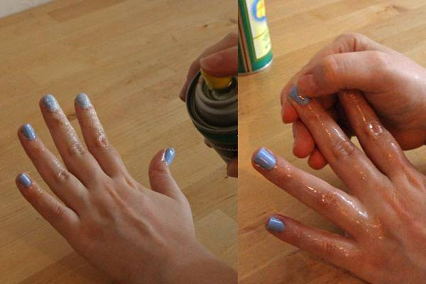 Spraying Cooking Oil on Your Nails