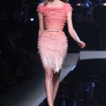 Pink Ombre Belted Wiggle Dress with Ruffle Texture by Dior Resort 2011