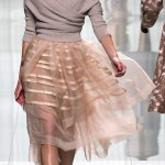 Ballet Style Grey Sweater and Blush Sheer Skirt by Dior 2013