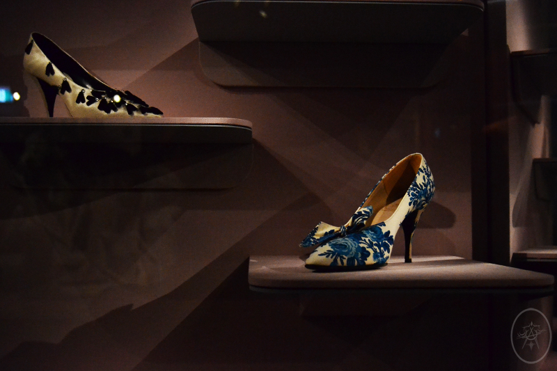 1950's Dior cream and blue high heel with bow, at NGV International, Melbourne, Australia