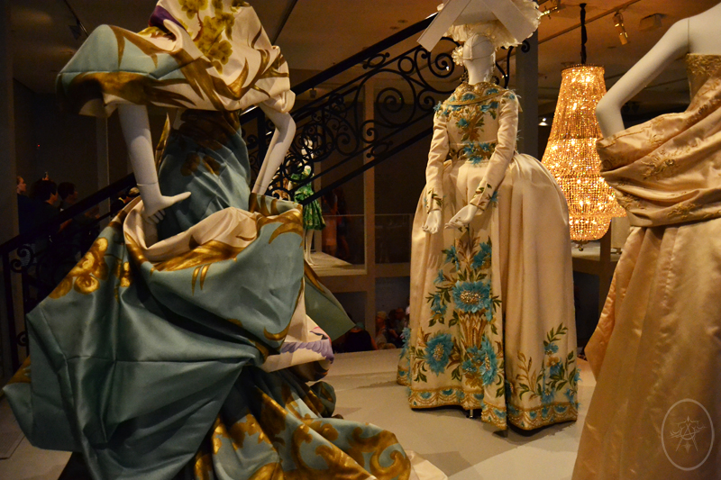 Blue, Gold and Cream regal avant garde gowns by John Galliano for Dior, at NGV International, Melbourne, Australia