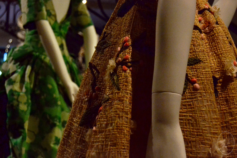 Close up of the floral raffia texture of a Dior cocktail dress, at NGV International, Melbourne, Australia
