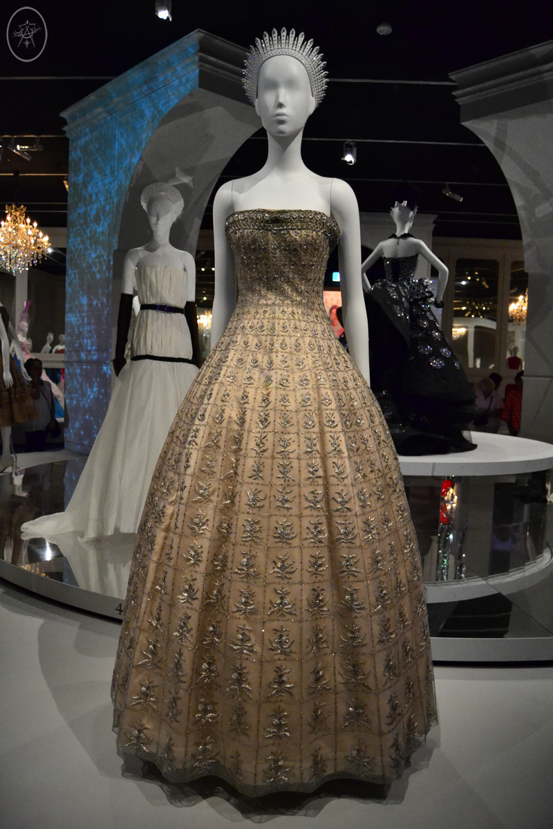 Cream and Silver regal strapless floor-length Dior gown, at NGV International, Melbourne, Australia