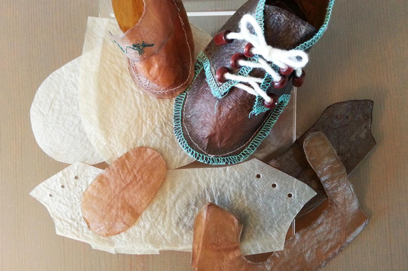 Baby booties made from kombucha leather