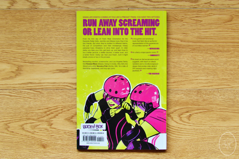 SLAM! Back Cover showing two roller derby friends in full gear, getting ready to play