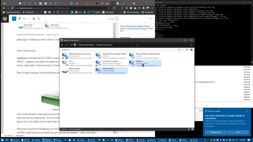 demonstration of making a network bridge in Windows