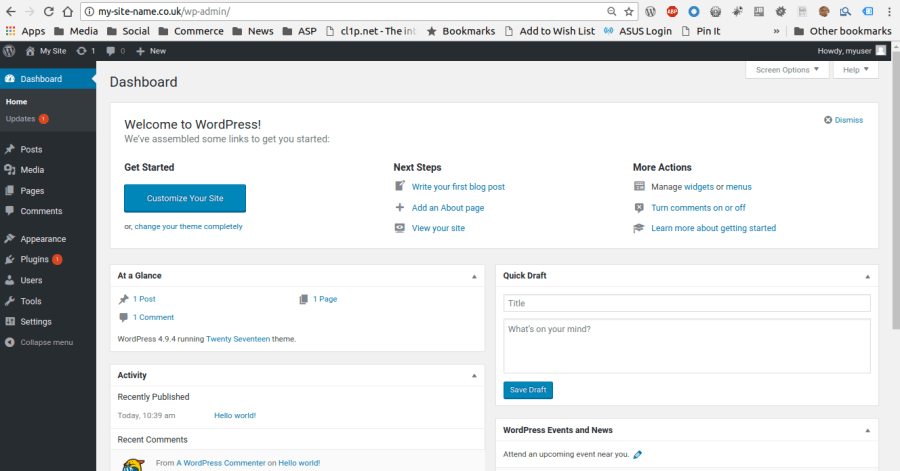 Wordpress default admin screen
