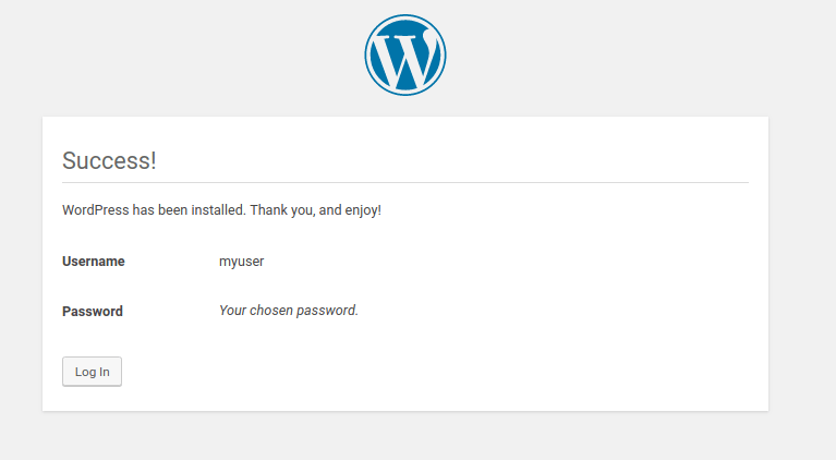 Wordpress Install complete