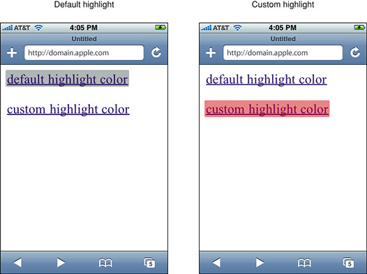 Differences between default and custom highlighting