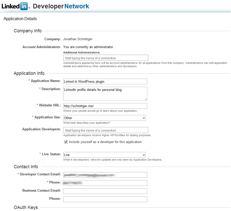 Filling Out Resume Form. Oauth2 And The Linkedin Api A Wordpress