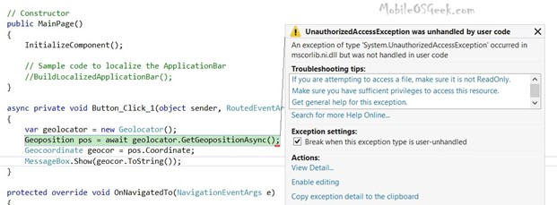 UnauthorizedAccessException was unhandled by user code when using Geolocator