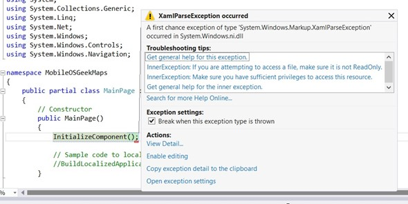 XamlParseException when using Map Control in Windows Phone 8