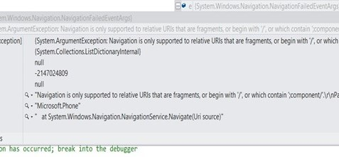 """Navigation is only supported to relative URIs that are fragments"" Error in Windows Phone App"