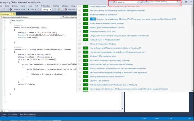 Visual Studio 2013 Tips & Tricks - Stack Overflow in Visual Studio 2013