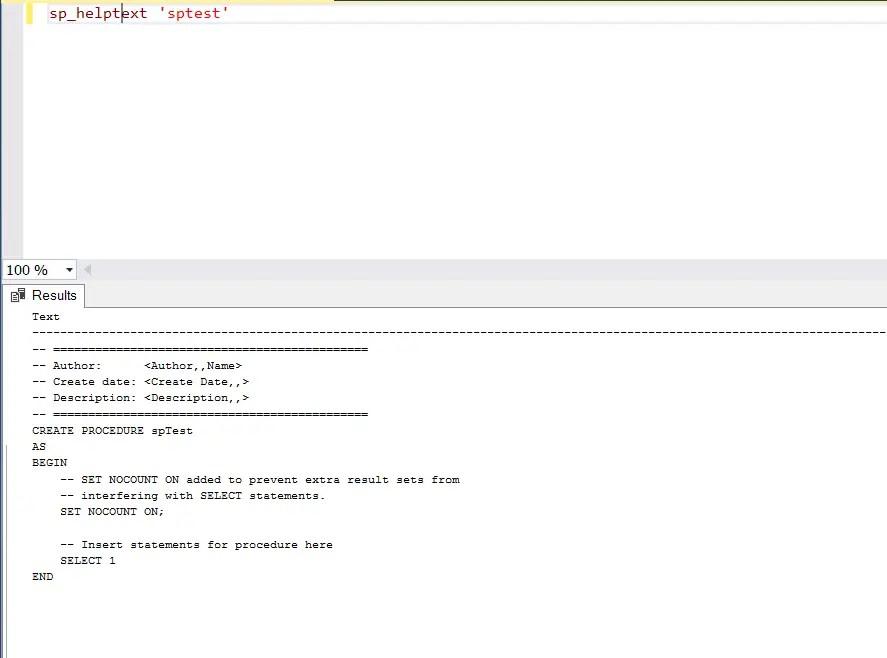 How to display Stored Procedure Code in SQL Server Management Studio ?