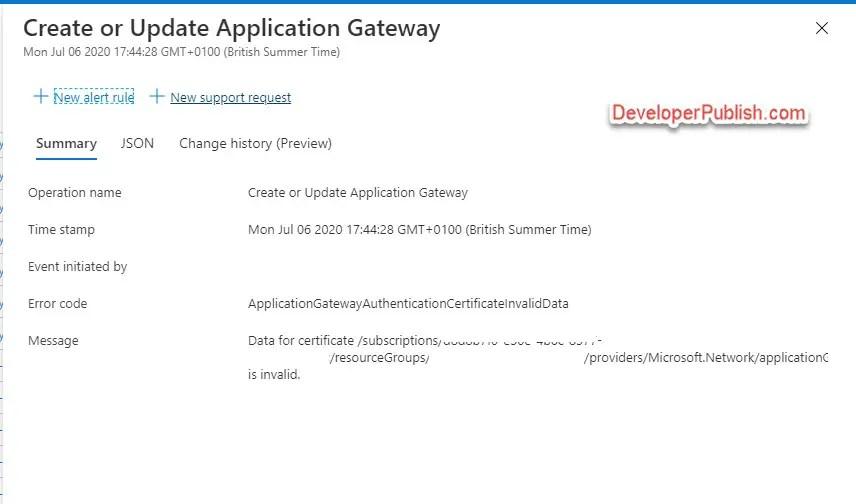 "Azure Tip #8 - Fix ""Data for certificate is Invalid"" error"
