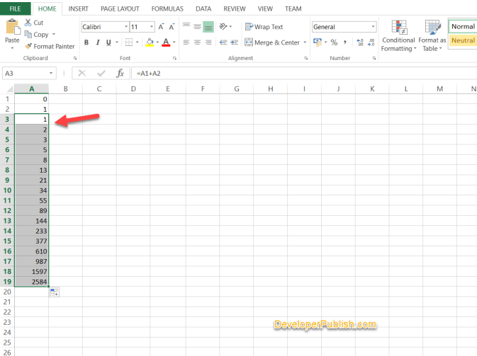 How to Create Fibonacci Sequence in Micrcosoft Excel ?