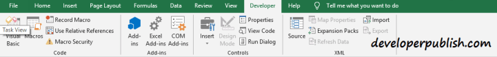 Developer tab in Microsoft Excel