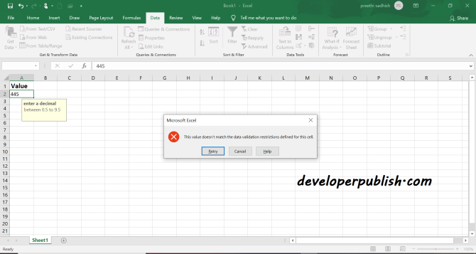 Data Validation in Microsoft Excel