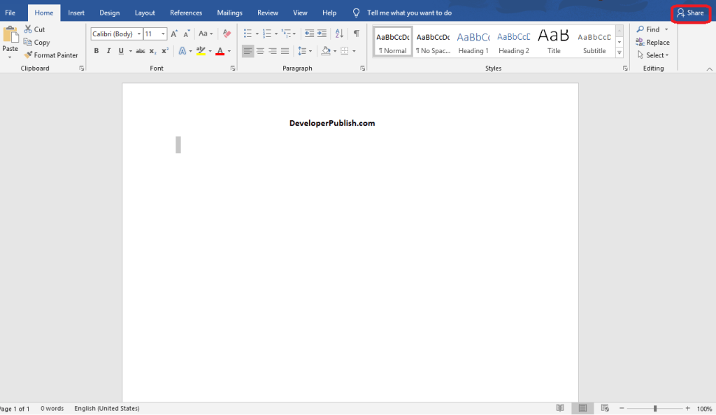 How to Share a document in Microsoft Word ?