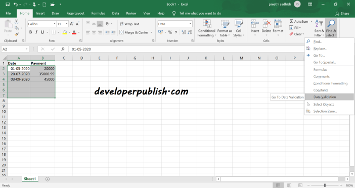 Find Cells with Data Validation in Microsoft Excel