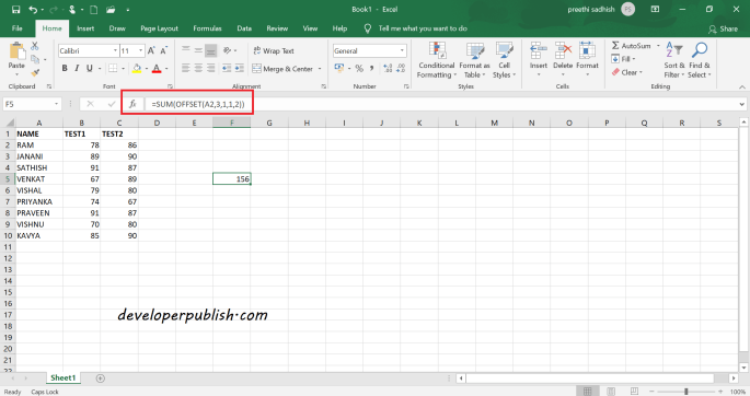 Offset Function in Microsoft Excel