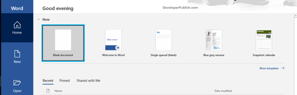 How to Create a New Blank Document in Word using Screen Reader?