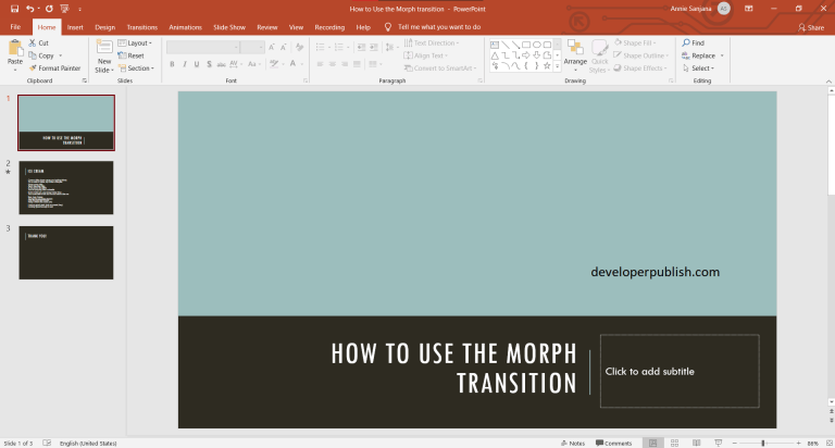 How to Use the Morph transition in PowerPoint?