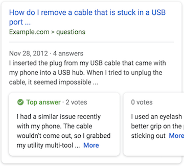 question answer page example in search results