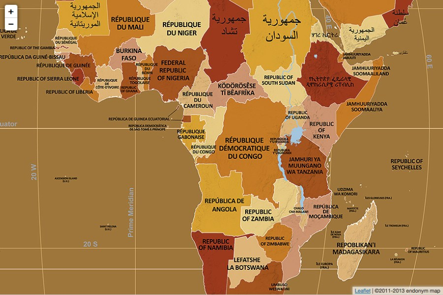 The endonym map of Africa     Rachel Strohm Endonym Africa