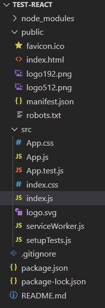 Visual Studio Code arborescence projet React