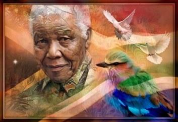 Tableau de Nelson Mandela image de paix d'idéal