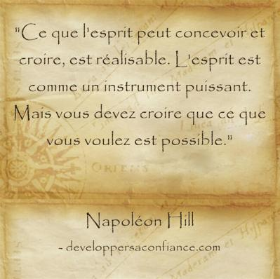 Citation de Napoleon Hill sur la visualisation de ses objectifs qui fait que tout est possible