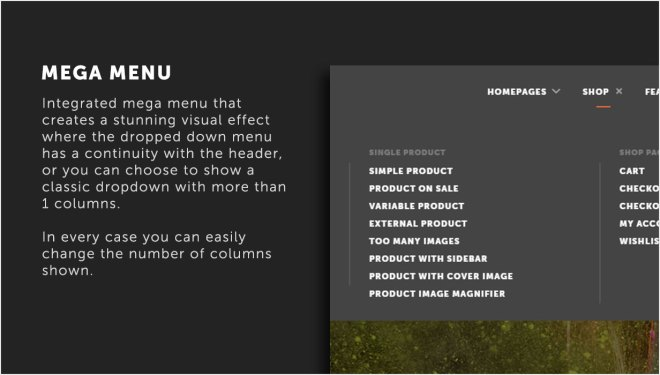 Built-in Mega menu support