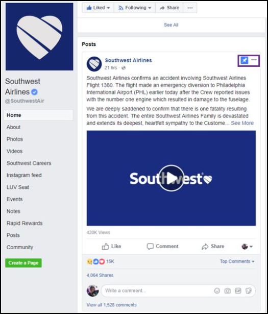 Southwest Airlines Facebook response to crisis