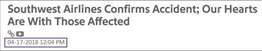 Southwest Airline Press Release regarding Flight 1380