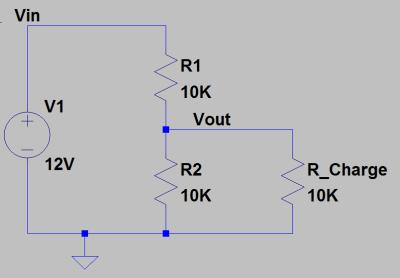 Connexion d'une charge à un pont diviseur