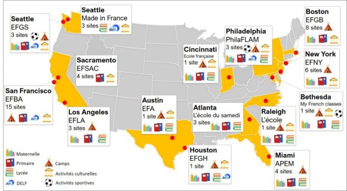 Cette carte des associations FLAM aux Etats-Unis montre les services proposés par chaque association