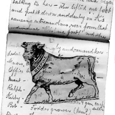 Darkie the Cow at the Nicholas household 1919