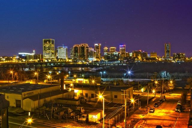 richmond city skyline night time