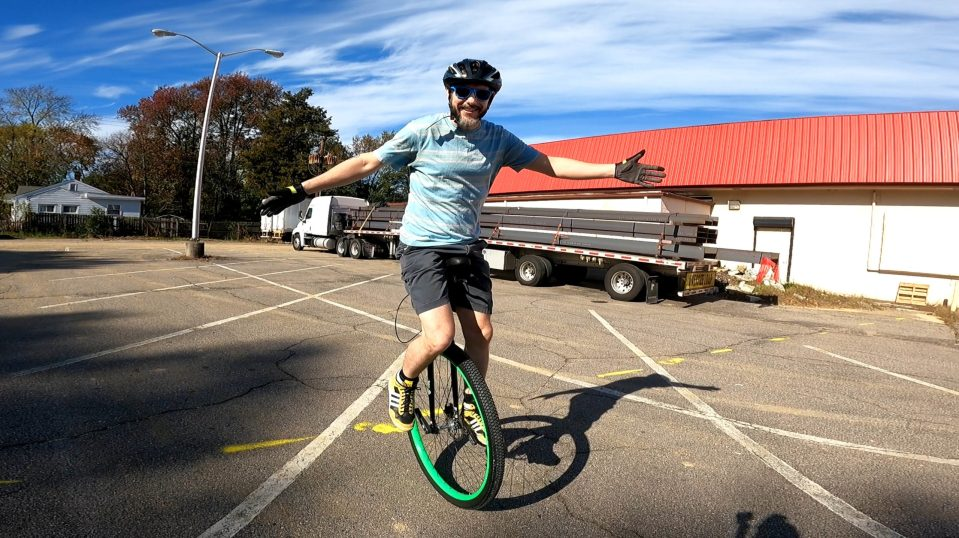 deven on a unicycle