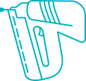 teal nail gun graphic for quick installation icon