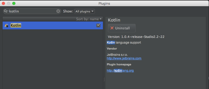 Plugin Kotlin Android Studio