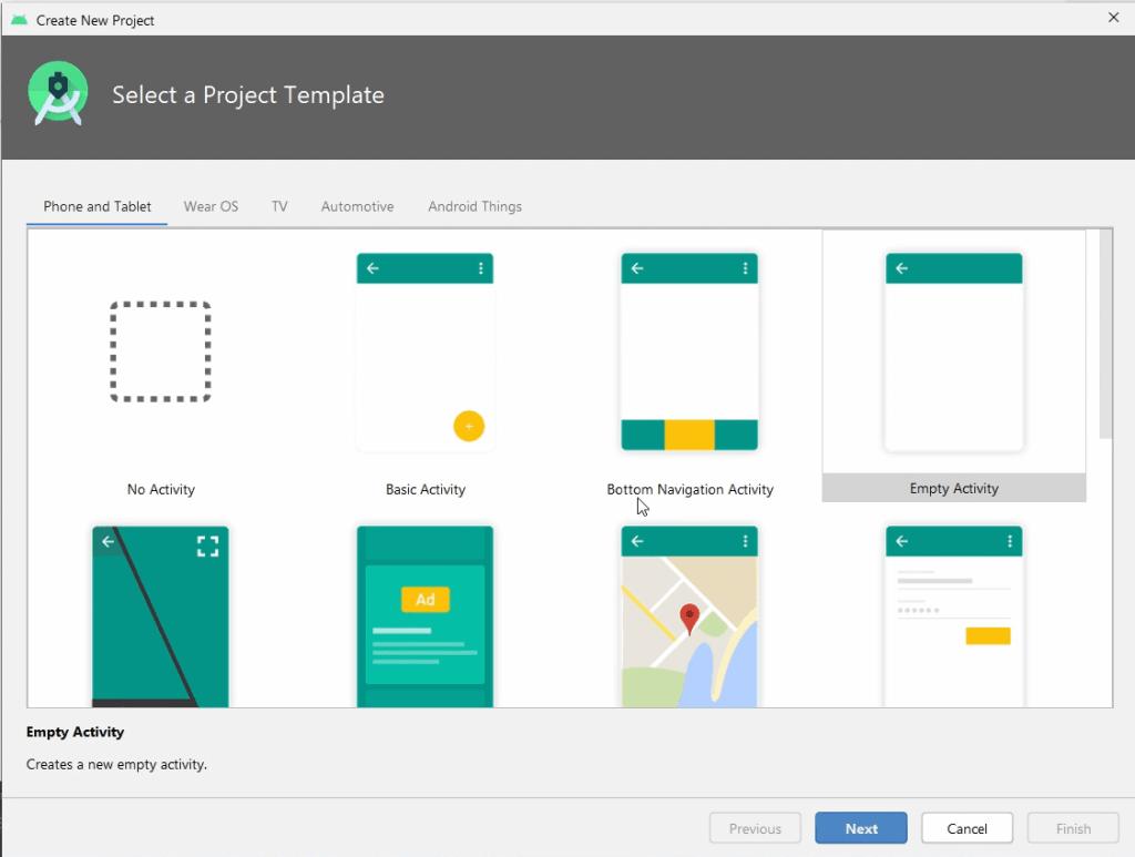 Elegir plantilla para nuevo proyecto en Android Studio