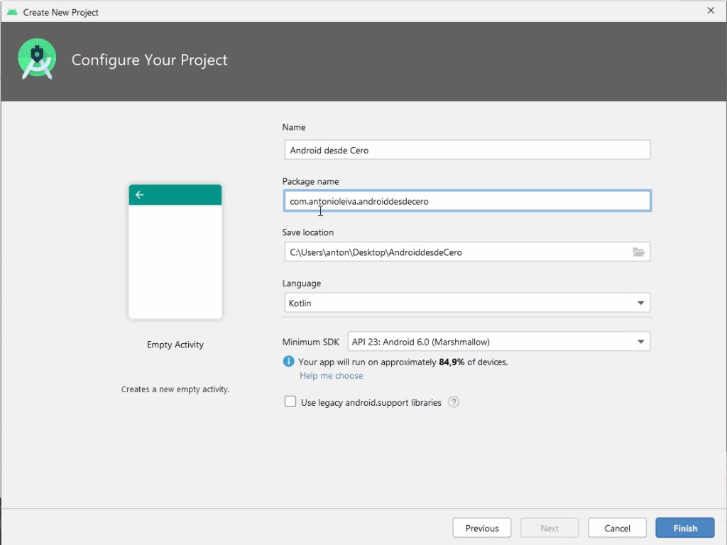 Configurar nuevo proyecto en Android Studio