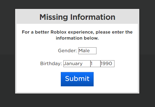 The Old Missing Information Prompt Doesn T Work Properly Website Bugs Devforum Roblox